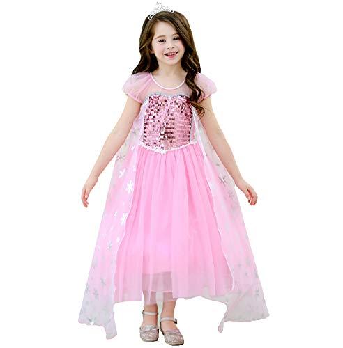 Kostüm Krönung Elsa Prinzessin - Magogo Mädchen Prinzessin Kleid ELSA Kostüm mit Krone Pailletten Cernival Party Kostümrock Karneval Outfit (L 121-130cm, Rosa)