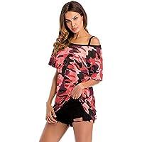 BINODA Tops Moda Casual de Verano para Mujer Camiseta con Manga Corta, Manga Corta, Camisetas sin Mangas frías (Color : Rojo, Size : XL)