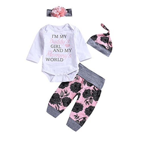 Abitini di uomogo ღ 2018 uomogo ragazze 100% cotone maniche lungi body fumetto infantile vestiti rampicanti pagliaccetto + pantaloni 3-24 mesi