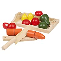 URBN Toys 8-9 Piece Childrens Wooden Food Kitchen Pretend Play Fruit & Veg