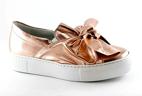 DIVINE FOLLIE 2308 rosa scarpe donna sneakers slip on fiocco platform Rosa