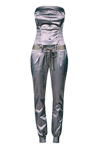 Laeticia Dreams Damen Jumpsuit Overall Bustier Sommer Lang S M L XL, Größe:40.L, Farbe:Grau Glanz -