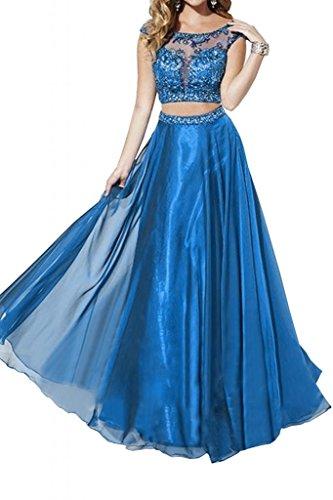 Toscane mariée exquisit combinaison 2 pièces long chiffon tuell abendkleider danse ballkleider prom party  Bleu - Bleu