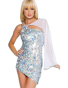YOUJIA Donna Vestiti da ballo Mini Abito, Vestito con Paillettes Abbigliamento da danza Abiti di latino americano...