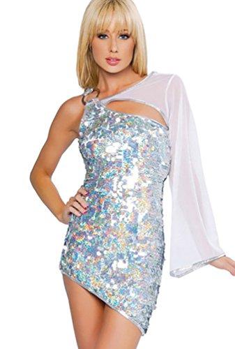 Kleid Silber Pailletten Mini (YOUJIA Damen One Shoulder Lateintanz Kleidung Salsa Tango Mini Kleider Tanzballkleider Halloween Kostüm mit Tüll -ärmel & Pailletten)