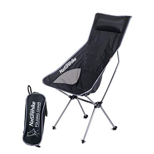 Uus Faltender Mond-Stuhl, tragbarer Fischen-Stuhl im Freien Ultra Heller Strand-Stuhl-Schwarzes (Farbe : Silber) -