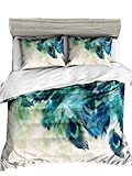 Pterygoid Collection Sehr Weich Stoff Quilt Bettbezug Set Pfau Design Paar Betten Sets enthalten Bettbezug Kopfkissen in Single Queen King Size, Pfauenfeder, King(240x220 cm)-fit for 1.5M Bed