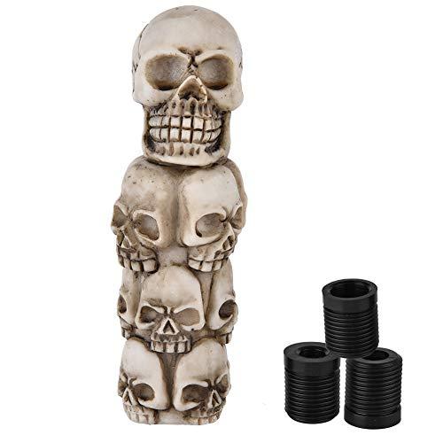 Schaltknauf Universal Knauf Shifter, Skeleton Skull Head Viele Gesichter Auto Manuelle Schaltknauf Stick Hebel Grau mit 3 Schlauch