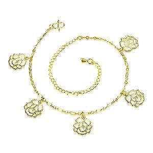KnBoB Fußkette Frauen Fußketten Gold Damen Fusskette Silber Blume Figaro Kette Fußkette Beste Freundin