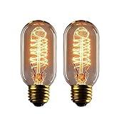 EDISON Stil Glühbirne, hostweigh T45 Vintage Deko LED Leuchtmittel, E27 E26 Sockel, dimmbar, Filament Leuchtmittel für Home Beleuchtungskörpern, 220-230 V 40 W, Warm Weiß