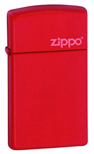 Zippo Red Slim Matte Logo - Mechero