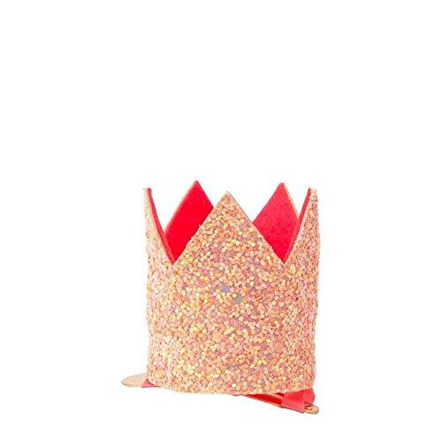 rosa Glitter Mini Partykrone mit Haarspange