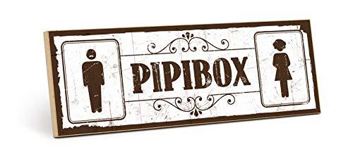 TypeStoff Holzschild mit Spruch - PIPIBOX - Shabby chic Retro Vintage Nostalgie deko Typografie Bild im Used-Look aus MDF-Holz (28,2 x 9,5 cm)