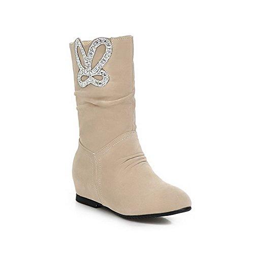 AllhqFashion Damen Niedrig-Spitze Reißverschluss Blend-Materialien Stiefel,Aprikosen Farbe,38