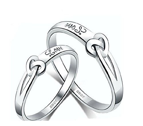 GirlZ! Platinum Plated Twin Heart Love Couple Rings (2 pieces - for Men and Women)