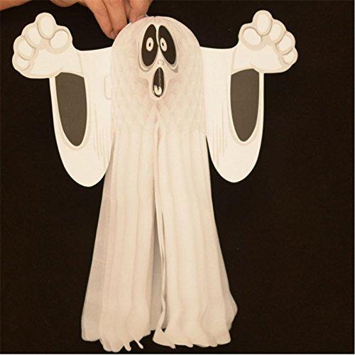 elegantstunning Heiße Halloween Dekoration Papier Hängen Geist Shroud Türschild Faltbare Spaß Weiß Halloween Party Requisiten Dekoration Klein