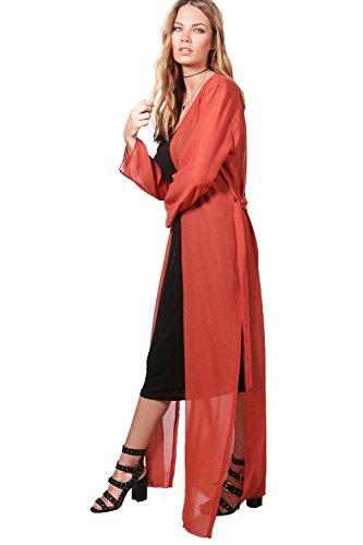 Damen Rost Stephanie Maxi-kimono Aus Chiffon Mit Gürtel Rost