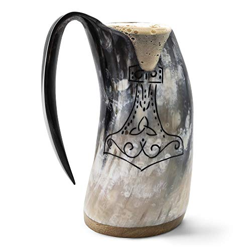 """Norse Tradesman Genuine Viking Drinking Horn Mug - 100% Authentic Beer Horn Tankard w/Thor's Hammer Engraving 