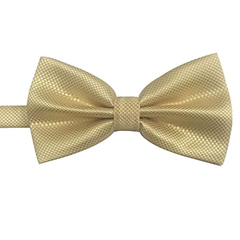 AINOW Men's Plaid Pattern Formal Pre-tied Bowties Banded Bow Ties (Champagne)