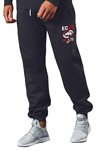 Hip-hop-holzkohle (Herren Ecko Jogger Hiphop Vlies Joggen Unterseite Schweiß Hose Gymwear GUTES Holz,Heide Holzkohle,L)