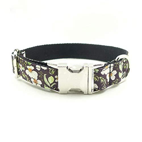 XBUTY - Collare per Cani, Realizzato a Mano, in Nylon Morbido e Confortevole, con Motivo Floreale Nero, per Cani di Piccola e Media Taglia, Taglie Disponibili: S/M/L/XL