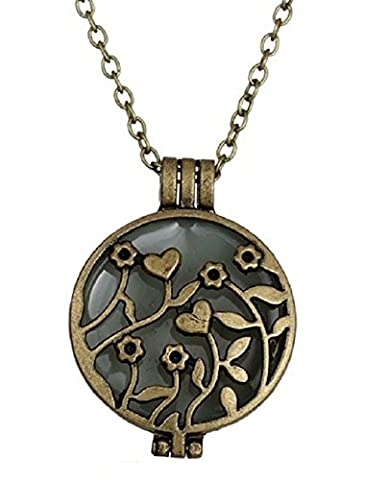 Necklace With Round And Floral Motif Pendant, Blue Luminous Effect In The Dark Luminescent Glow In The Dark Green Special Occasion Gift Idea For Woman