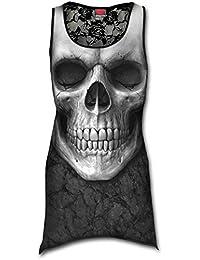 Spiral Débardeur avec dos en dentelle pour femme Motif Solemn Skull Style gothique Noir