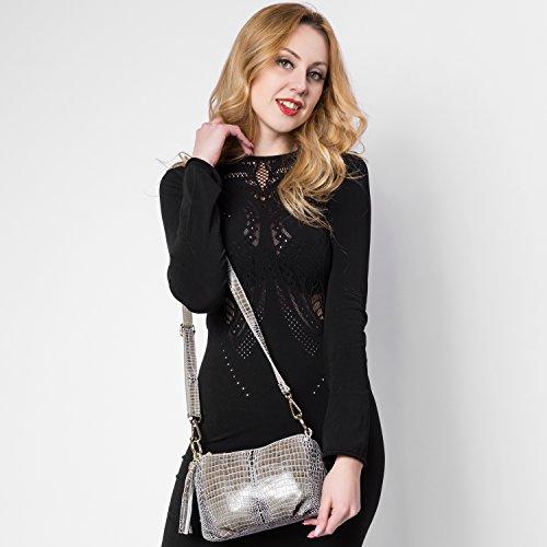Realer Borse delle donne della borsa del modello del coccodrillo pelle Hobos del messaggero con le nappe Grigio
