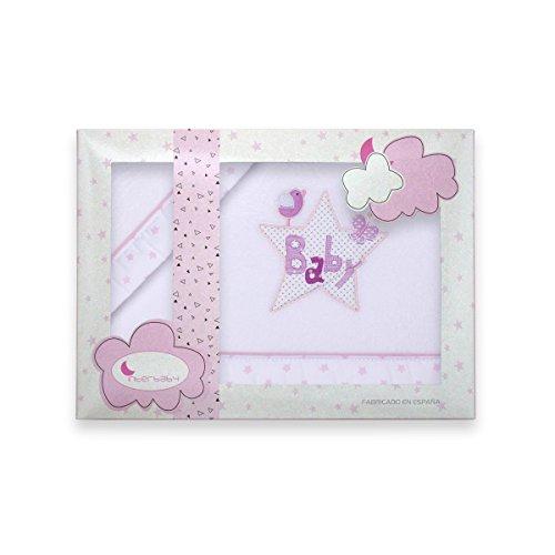 Sábanas Minicuna Coralina Baby Blanco Rosa - Sábanas