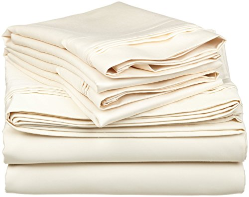 600TC 100% ägyptische Baumwolle Bettwäsche 4-teiliges Set Bettbezug + Spannbetttuch 46cm Deep Pocket alle Größe & Farbe massivem von SGI Betten Europa Kollektion, elfenbeinfarben, Euro Single IKEA (Euro Bettbezug)