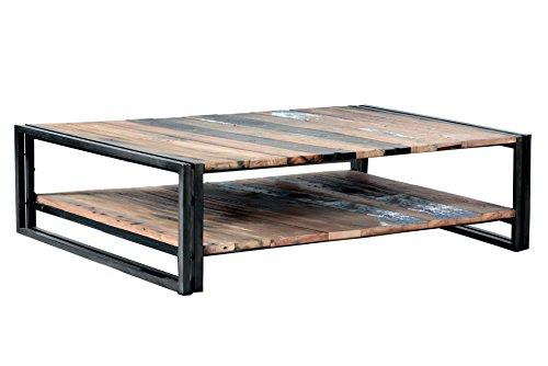 Table Basse 2 Plateaux Rectangular 120X70X35 Style Industriel en Bois de Bateau recyclé.