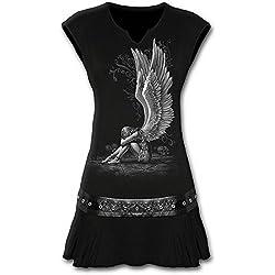 Spiral, vestido de tamaño mini para mujer con diseño de ángel esclavizado y tachuelas en la cintura, color negro negro negro Small