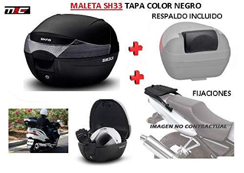 SHAD Kit BAUL Maleta Trasero SH33 litros + FIJACION + Respaldo Pasajero Regalo -...