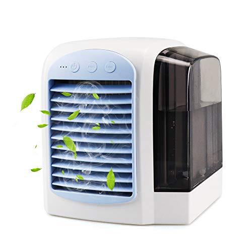 FHzytg 4 in1 Mini Air Cooler, USB Mobile Klimaanlage, Luftbefeuchter, Luftreiniger, Tischlüfter mit 3 Geschwindigkeiten und LED-Nachtlicht für den Büro-Haushalt 46-in-1 Usb