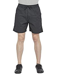 Beevee 100% Cotton Printed Black Elasticated Shorts With Drawstring