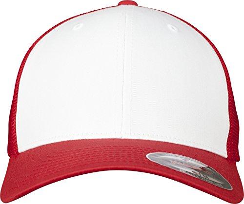 Flexfit Mesh Colored Front Unisex Kappe für Damen und Herren, Mehrfarbig (red/Wht), L/XL