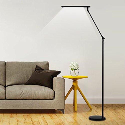 Preisvergleich Produktbild Tonffi Faltbare LED Stehleuchte Aluminiumlegierung Standlampe mit 8W 420LM 5000K weiß Touch-dimmbare Schalter fünf Helligkeit für Ihr Wohnzimmer und Lesenzimmer usw. Schwarz Runde-Lampenfuß