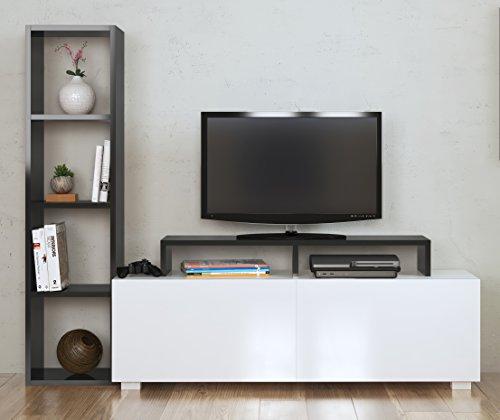 Aster - mobile tv da salotto, bianco e nero, con scaffali, design moderno