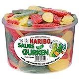 HARIBO Saure Gurken Fruchtgummi Dose, 2er Pack (2 x 1350g)