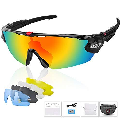 TABIGER Fahrradbrille, UV400 Polarisierte Sonnenbrille mit 5 Wechselobjektiven und Etui für Herren und Damen, Radbrille für Radsports, Baseball, Laufen Sportsonnenbrille