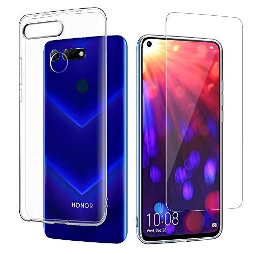 EasyAcc Huawei Honor View 20 Hülle Case und Panzerglas 9H Schutzfolie, Crystal Clear Transparent Handyhülle Cover Premium-TPU Durchsichtige Schutzhülle Für Huawei Honor View 20