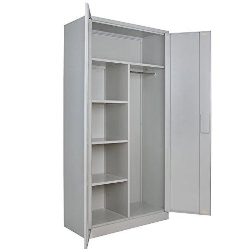 4er Set Putzmittelschrank Universalschrank Spind 180 x 90 x 40 cm Metallschrank Schließfachschrank Wertfachschrank mit Einlegeböden und Kleiderstange, Farbe:Grau-Grau