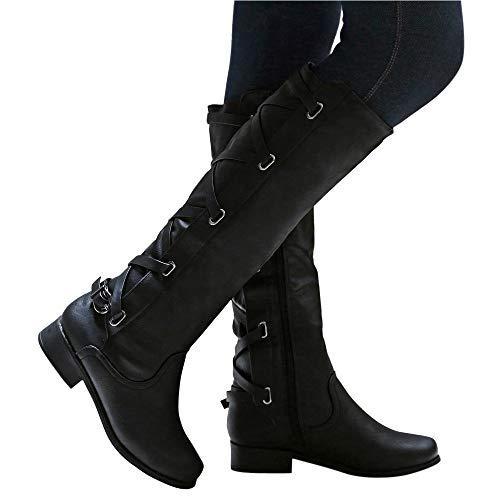 Stiefel Damen, ABsoar Cowboystiefel Mode Frauen Leder Stiefel Freizeitschuhe Klassische Stiefeletten Roman Riding Kniehohe Lange Stiefel