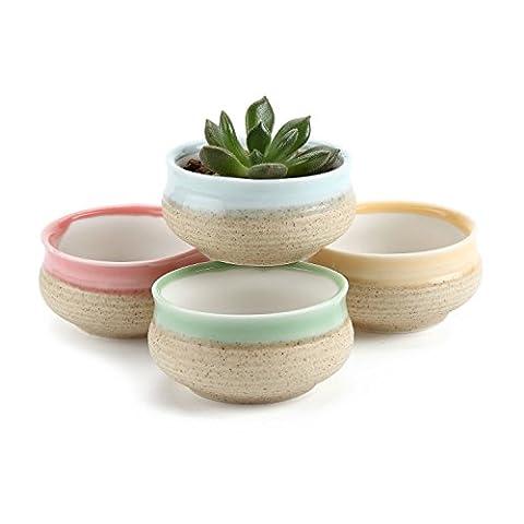 T4U Sucre série Céramique Pot Plante Récipient Pépinière Pots Succulents Cactus Plante pots 4 Pièces