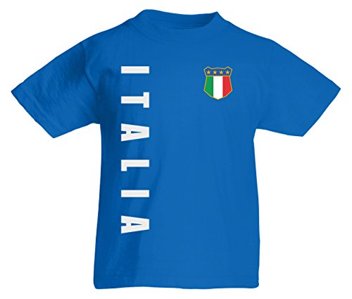 Italien Italia Kinder T-Shirt Trikot Wunschname Wunschnummer (Royalblau, 140)