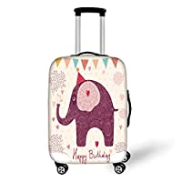 Travel Luggage Cover Suitcase Protector,Kids Birthday,Asian Paisley Motif Image with Purple Color Elephant Party Cone Hearts and Flags Decorative,Pink,for Travel,M