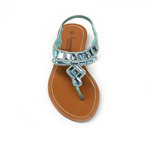 Kick Footwear - Donna cinturino alla caviglia e t-bar di moda estate scarpe sandali scarpe festa Turchese (Turchese)
