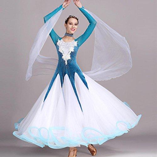 Schwarz Contemporary Dance Kostüm - Handmade Bestickt Walzer Ballroom Dance Kleider für Frauen Performance Kostüm Lange Ärmel Große Schaukel Wettbewerb Tanzkleider