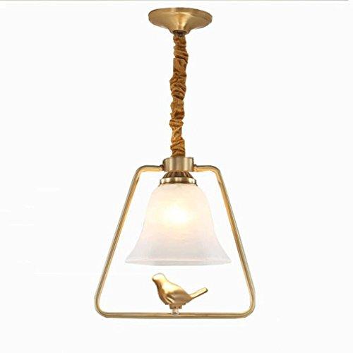 lustre GAODUZI Cuivre Oiseaux Moderne Minimaliste Restaurant Chandeliers Balcon Allée Lumières Bar Comptoir en Cuivre Plafond Pur Cuivre Créatif Oiseau Lumières E27 (Couleur : A)