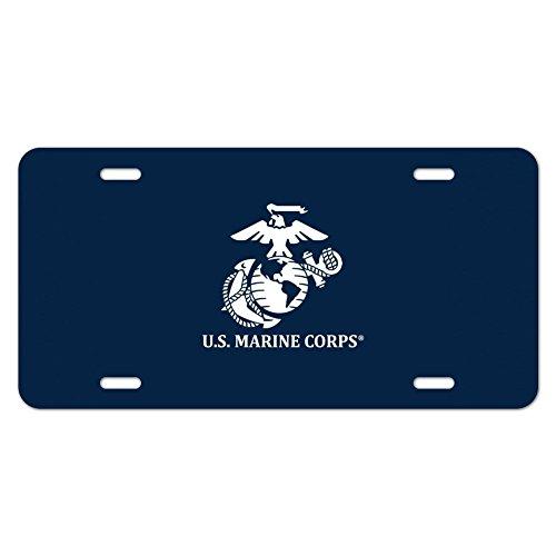US Marine Corps USMC Logo weiß auf blau Offizielles Lizenzprodukt Neuheit Metall Vanity Tag License Plate (Marine Corps Nummernschild)